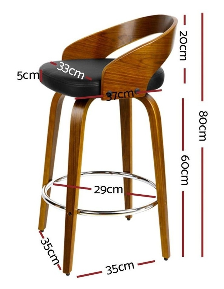 4x Wooden Bar Stools Swivel Bar Stool Kitchen Dining Chairs Wood Black image 2