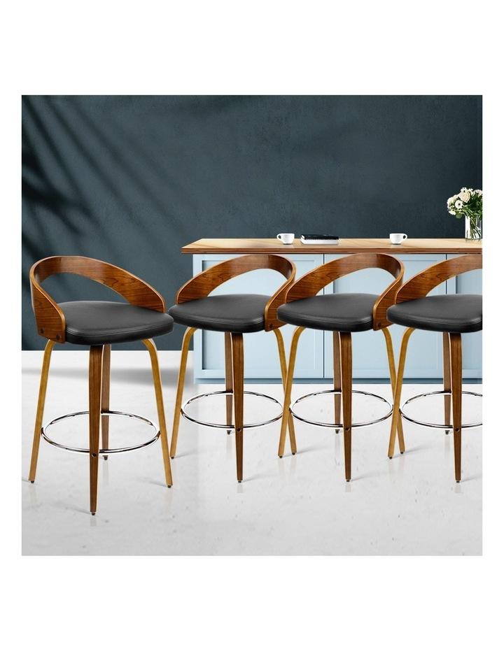 4x Wooden Bar Stools Swivel Bar Stool Kitchen Dining Chairs Wood Black image 3