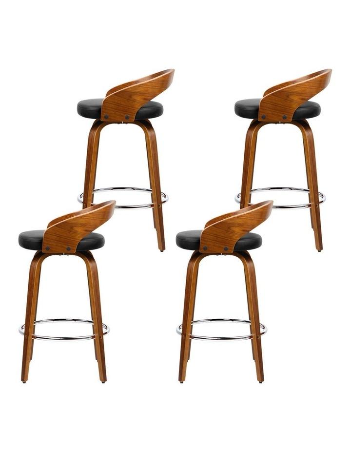 4x Wooden Bar Stools Swivel Bar Stool Kitchen Dining Chairs Wood Black image 4