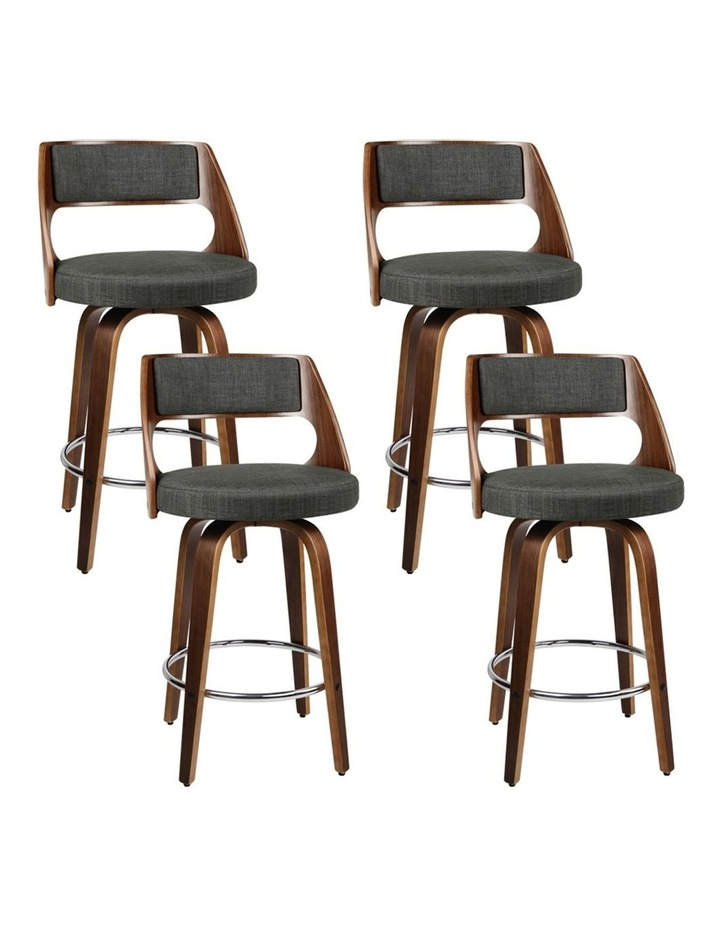 4x Wooden Bar Stools Swivel Bar Stool Kitchen Chairs Charcoal Fabric image 1