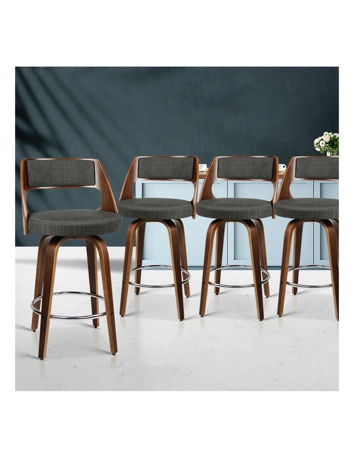 4x Wooden Bar Stools Swivel Bar Stool Kitchen Chairs Charcoal Fabric image 3