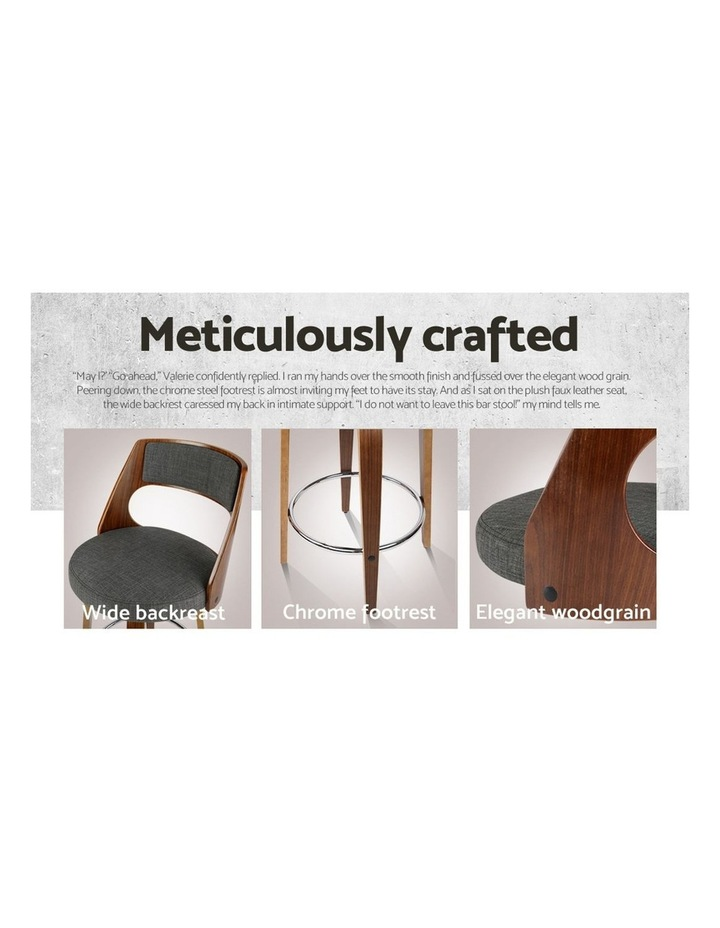 4x Wooden Bar Stools Swivel Bar Stool Kitchen Chairs Charcoal Fabric image 7
