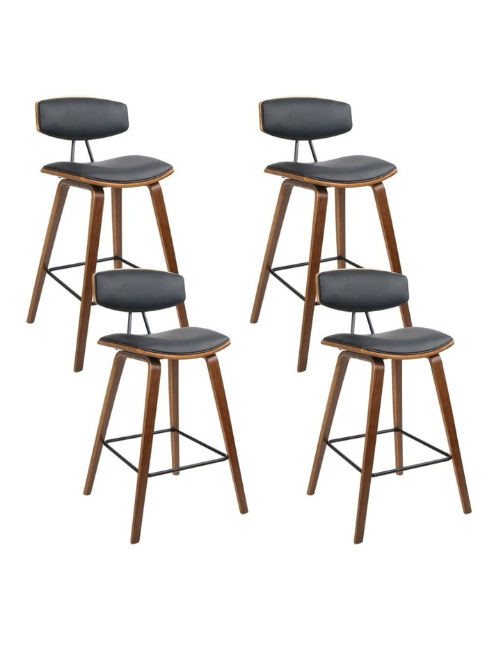 4x Wooden Bar Stools Kitchen Bar Stool Dining Chair Cafe Wood Black 8782 image 1