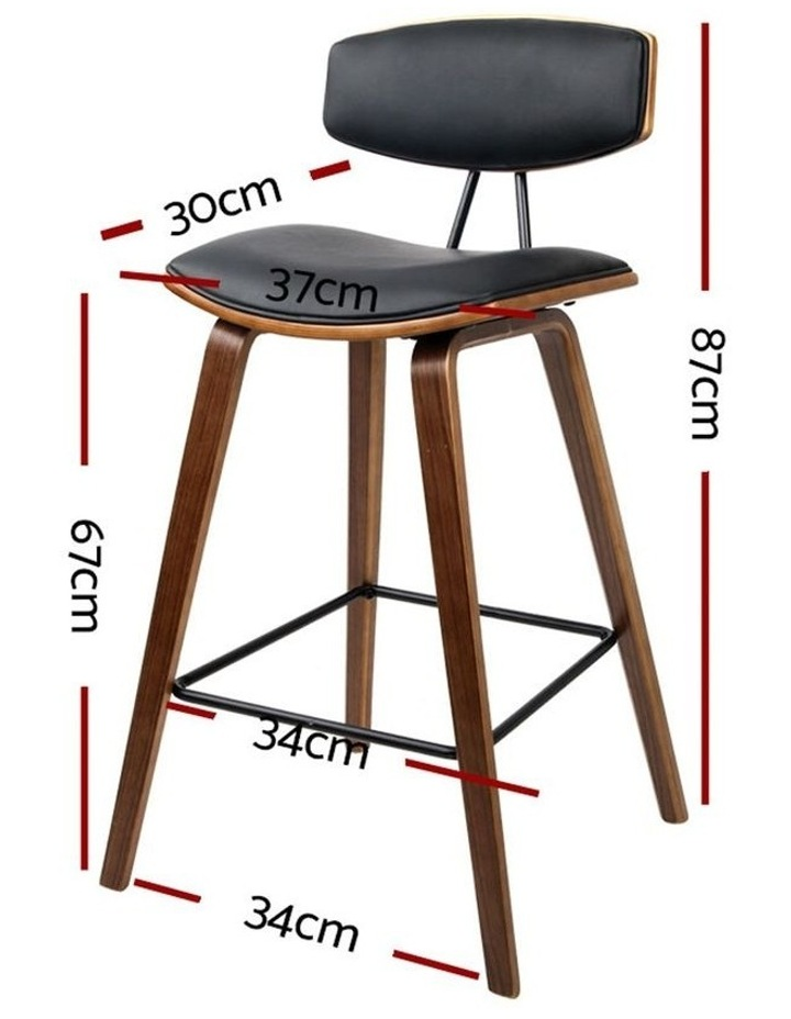 4x Wooden Bar Stools Kitchen Bar Stool Dining Chair Cafe Wood Black 8782 image 2