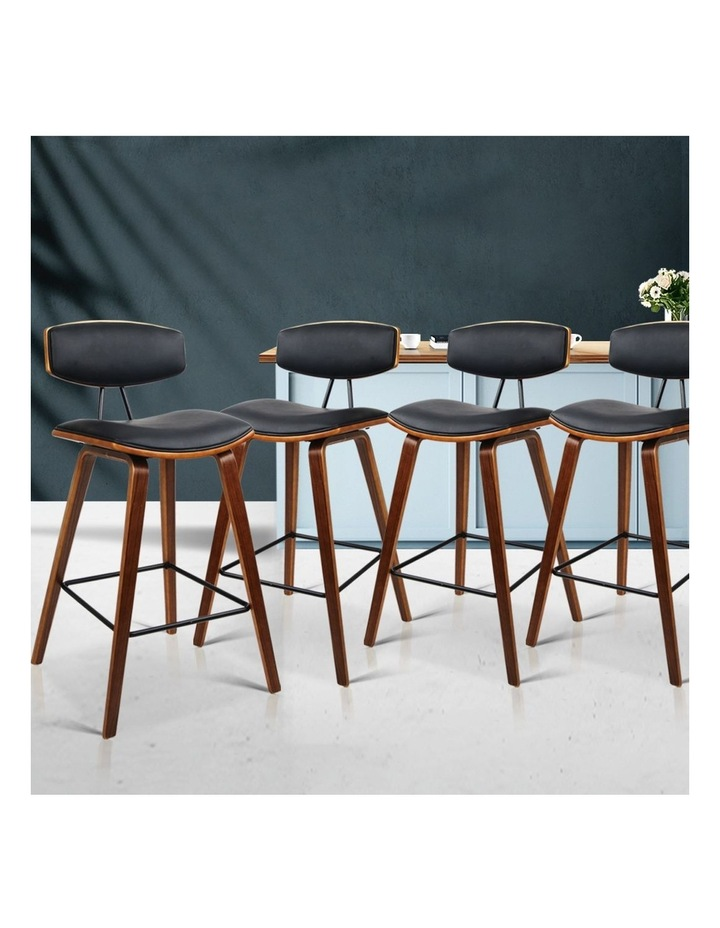 4x Wooden Bar Stools Kitchen Bar Stool Dining Chair Cafe Wood Black 8782 image 3