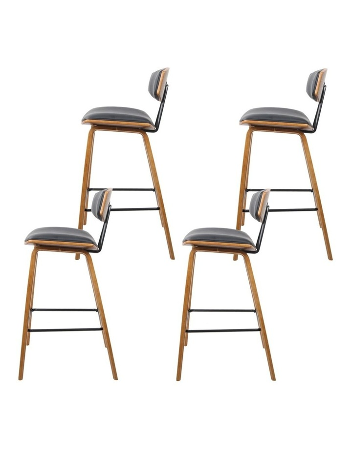 4x Wooden Bar Stools Kitchen Bar Stool Dining Chair Cafe Wood Black 8782 image 4