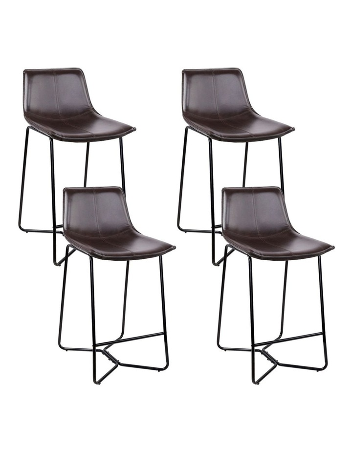 4x Bar Stools LEANNE Kitchen Bar Stool Leather Dining Chair Metal Black image 1