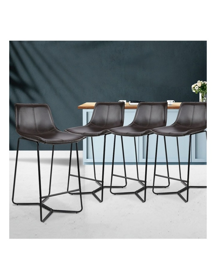 4x Bar Stools LEANNE Kitchen Bar Stool Leather Dining Chair Metal Black image 3