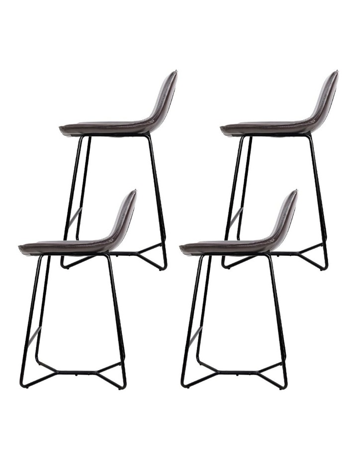 4x Bar Stools LEANNE Kitchen Bar Stool Leather Dining Chair Metal Black image 4