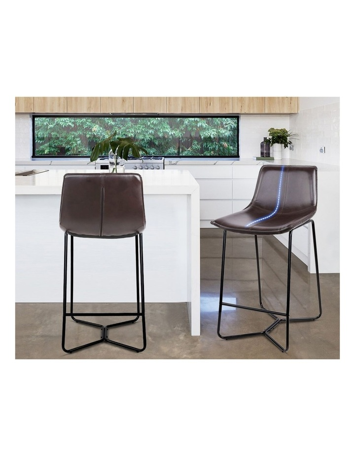 4x Bar Stools LEANNE Kitchen Bar Stool Leather Dining Chair Metal Black image 5