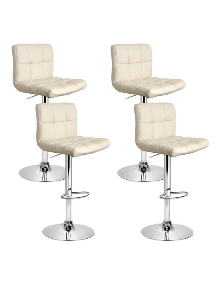 4x Leather Bar Stools NOEL Kitchen Chairs Swivel Bar Stool Gas Lift Beige image 1