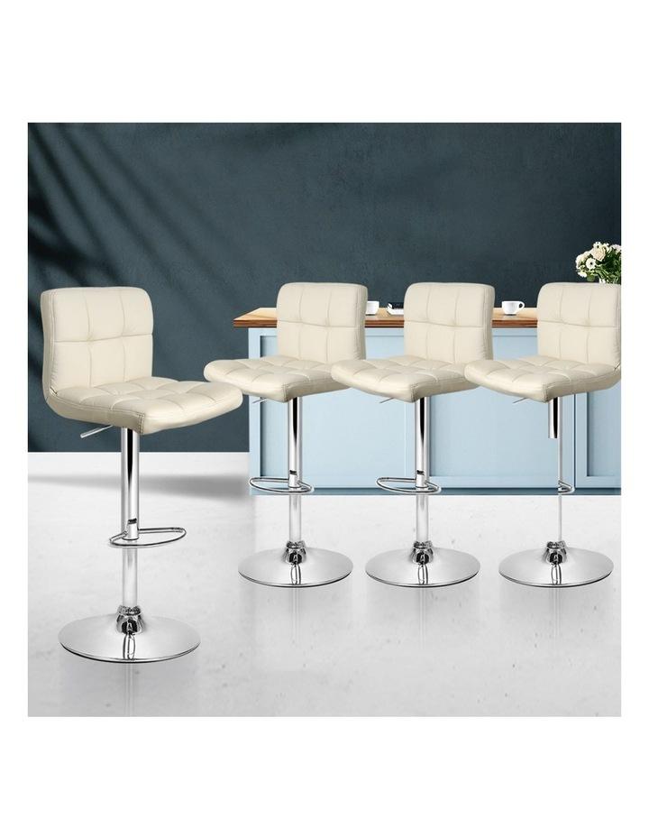 4x Leather Bar Stools NOEL Kitchen Chairs Swivel Bar Stool Gas Lift Beige image 3