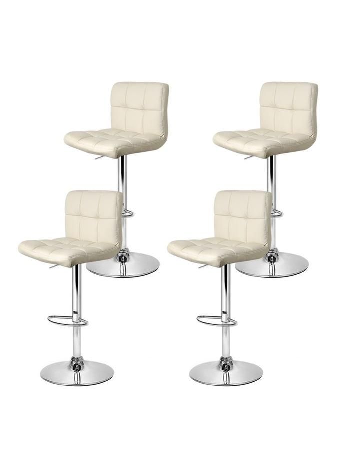 4x Leather Bar Stools NOEL Kitchen Chairs Swivel Bar Stool Gas Lift Beige image 4
