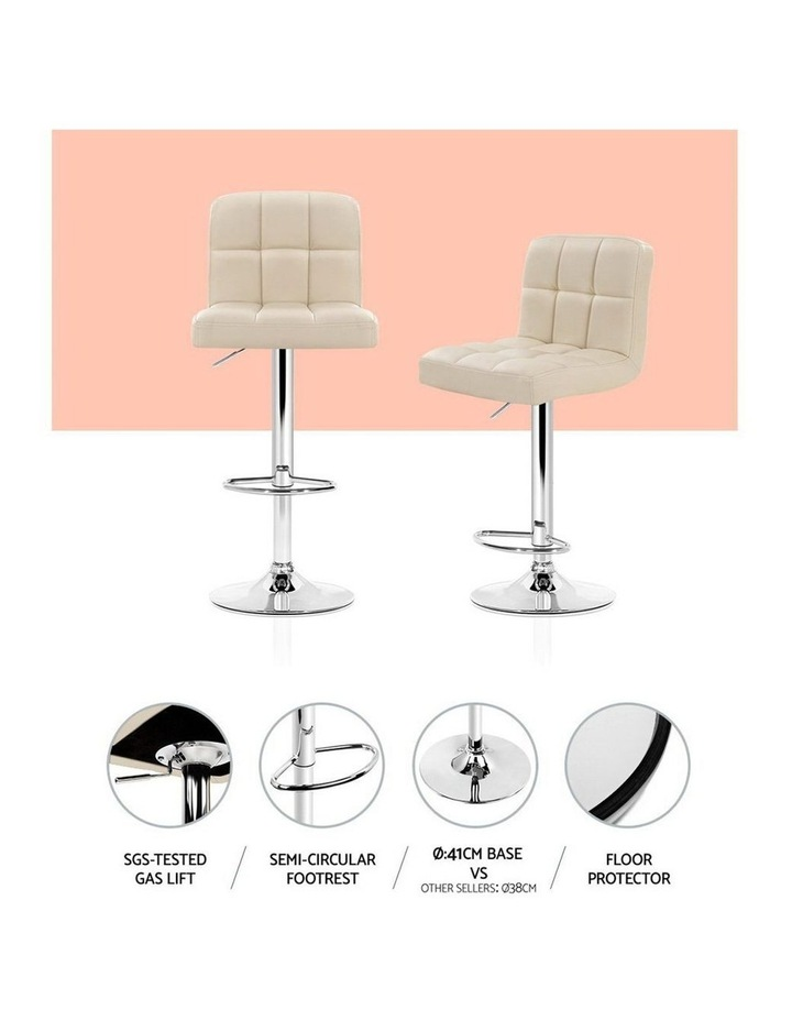 4x Leather Bar Stools NOEL Kitchen Chairs Swivel Bar Stool Gas Lift Beige image 5