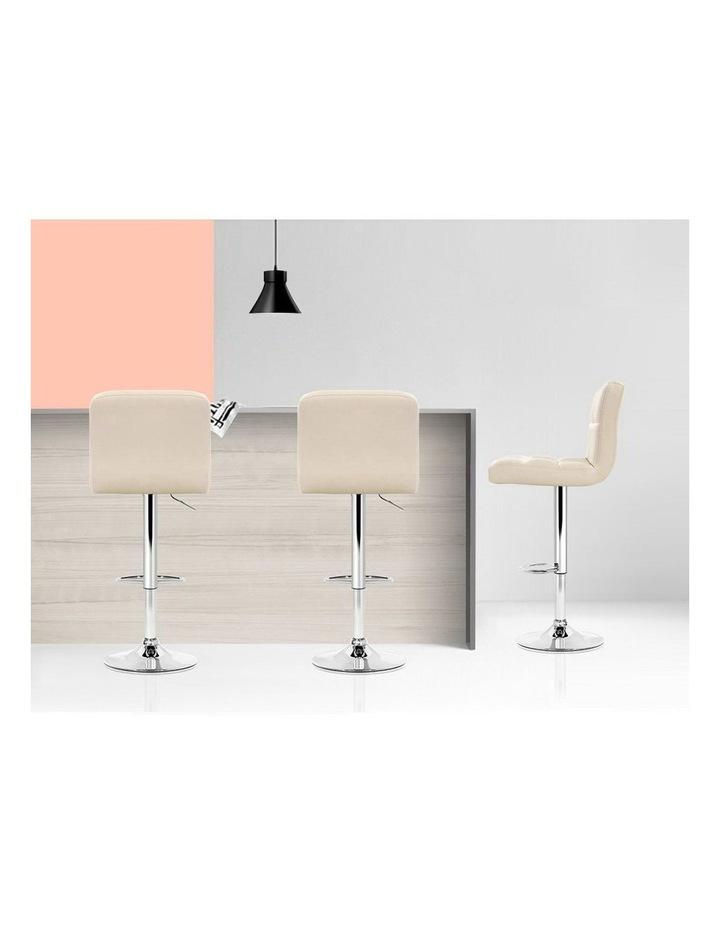 4x Leather Bar Stools NOEL Kitchen Chairs Swivel Bar Stool Gas Lift Beige image 6