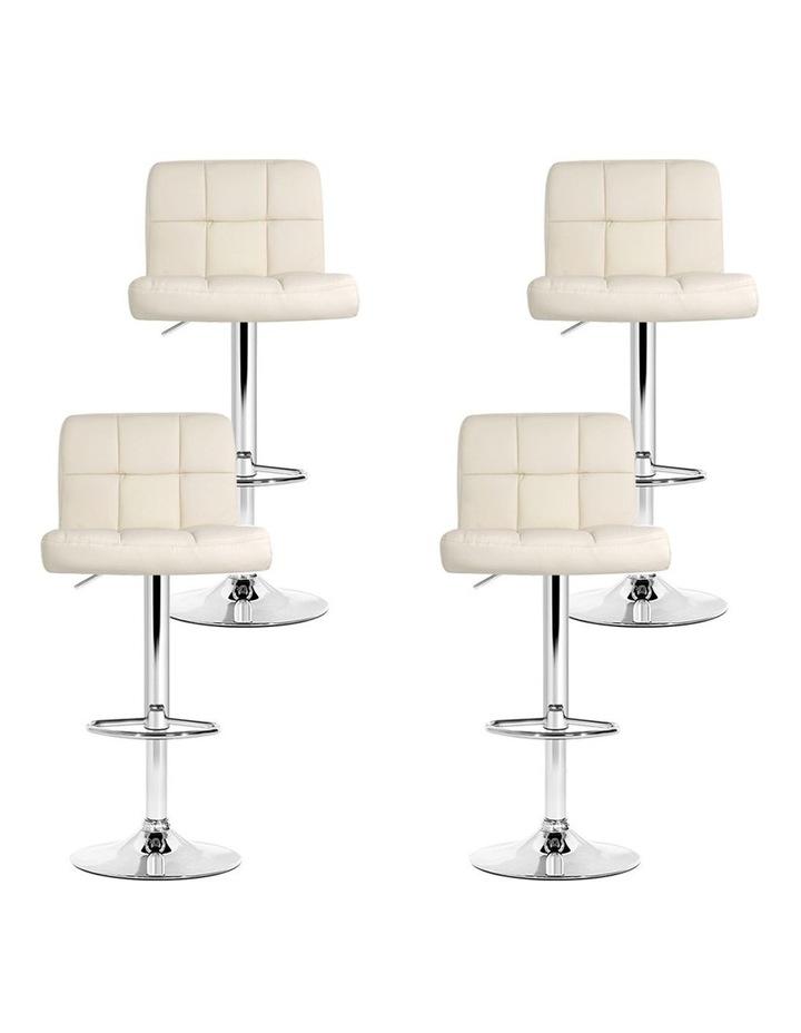 4x Leather Bar Stools NOEL Kitchen Chairs Swivel Bar Stool Gas Lift Beige image 7