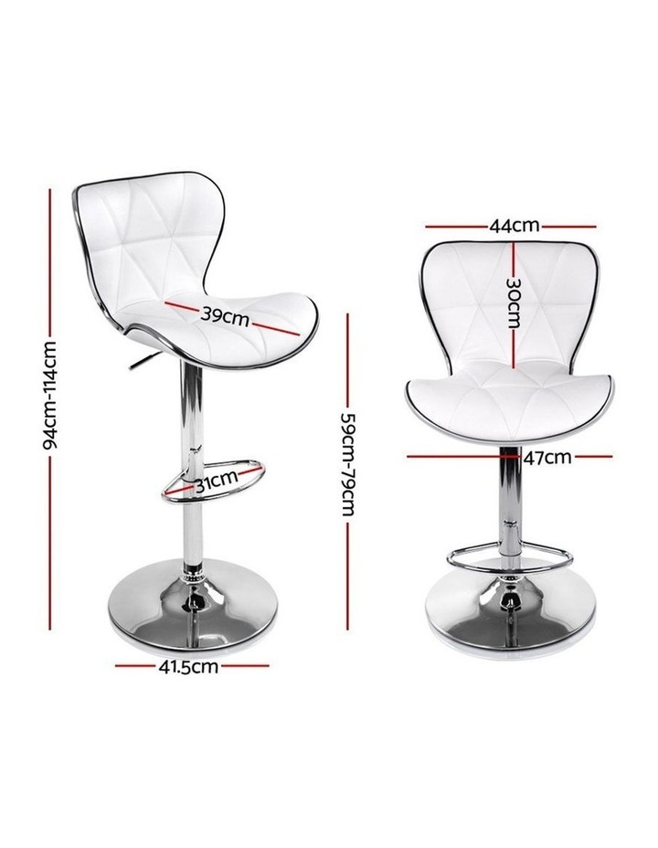 4x Bar Stools RUBY Kitchen Swivel Bar Stool Leather Chairs Gas Lift White image 2