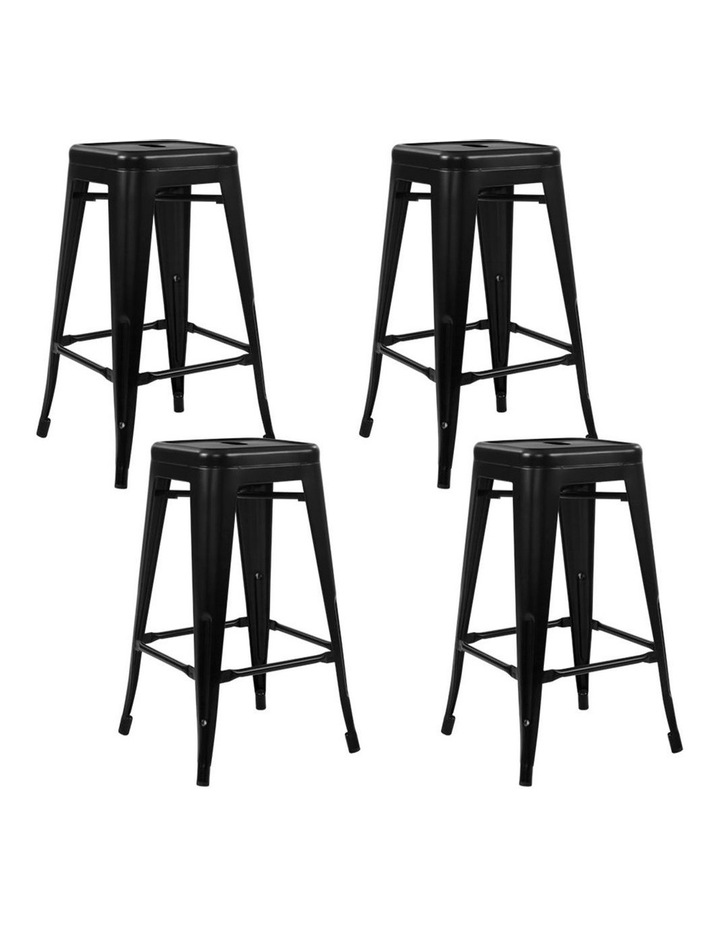 4x Replica Tolix Bar Stools Metal Bar Stool Kitchen Chairs 76cm Black image 1