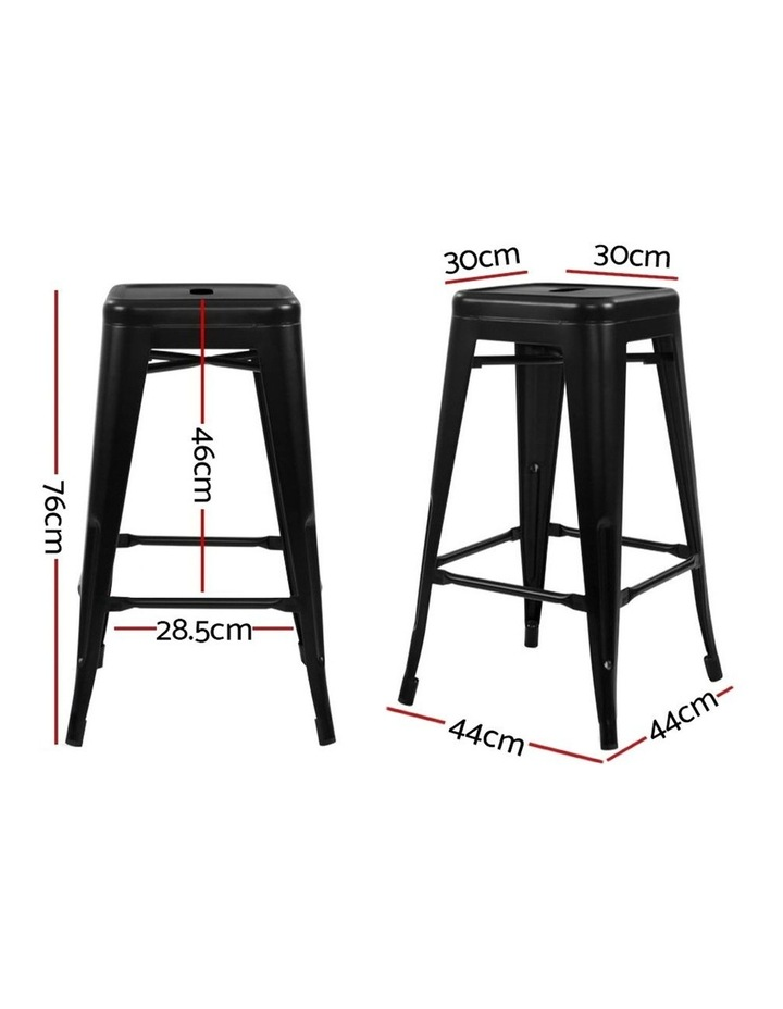4x Replica Tolix Bar Stools Metal Bar Stool Kitchen Chairs 76cm Black image 2