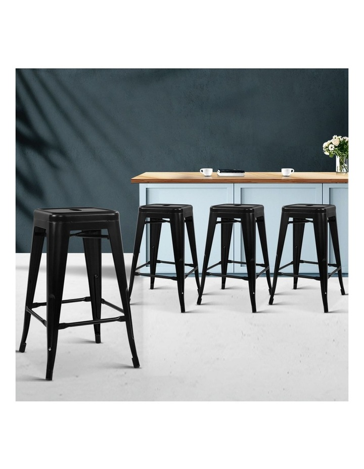 4x Replica Tolix Bar Stools Metal Bar Stool Kitchen Chairs 76cm Black image 3