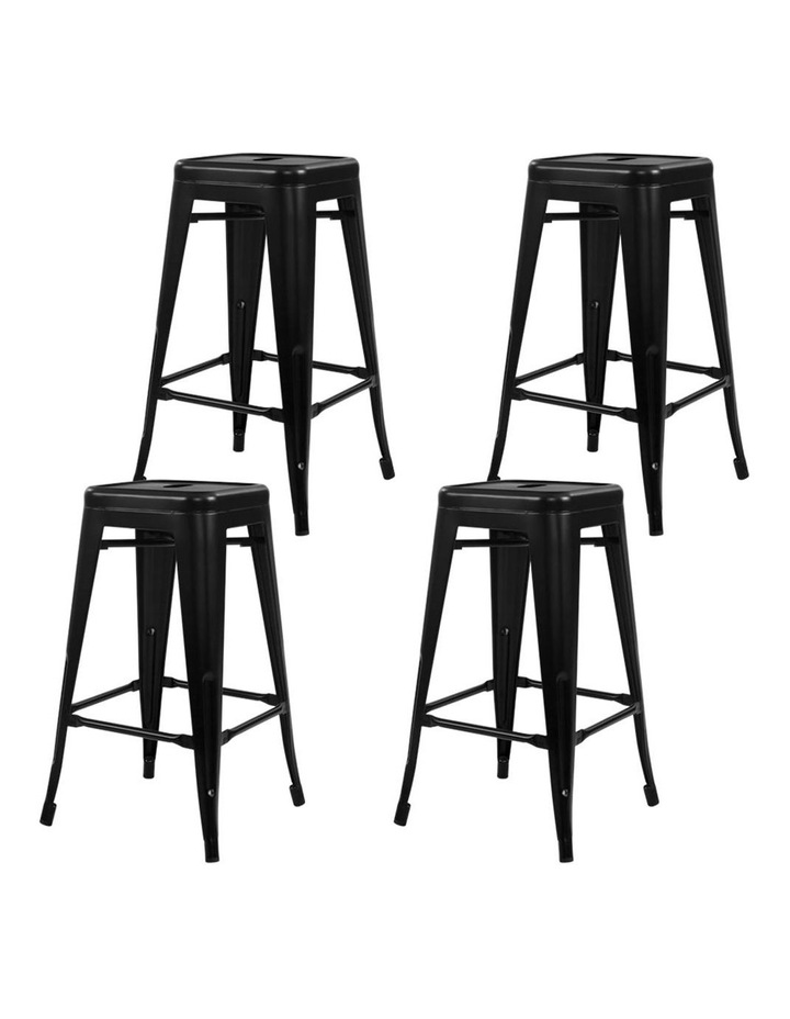4x Replica Tolix Bar Stools Metal Bar Stool Kitchen Chairs 76cm Black image 4