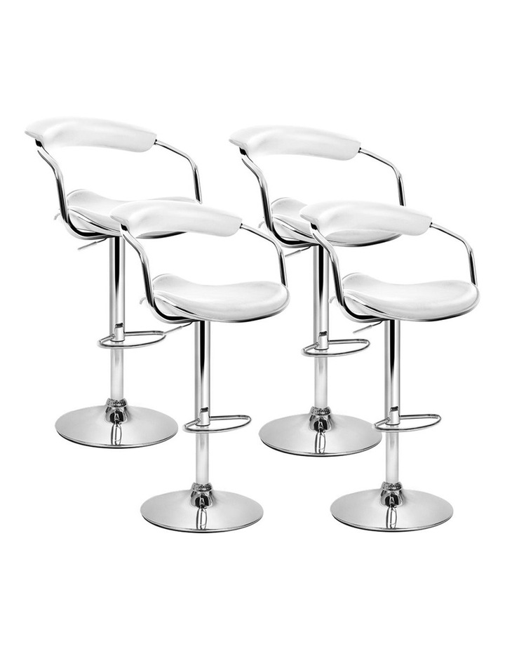4x Leather Bar Stools ADE Kitchen Chairs Swivel Bar Stool White Gas Lift image 1