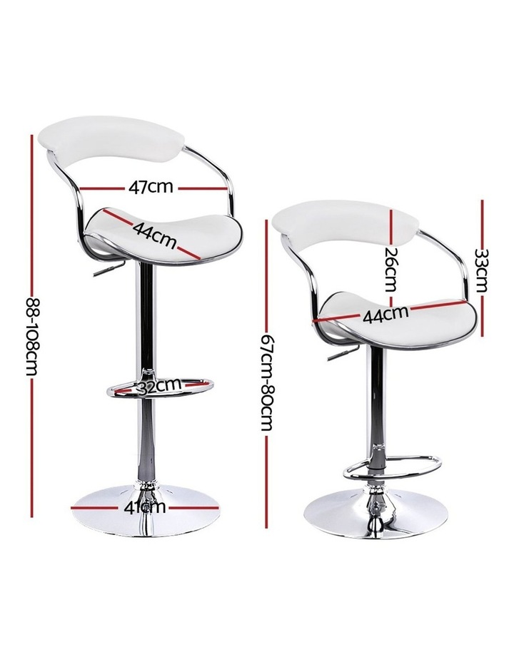 4x Leather Bar Stools ADE Kitchen Chairs Swivel Bar Stool White Gas Lift image 2