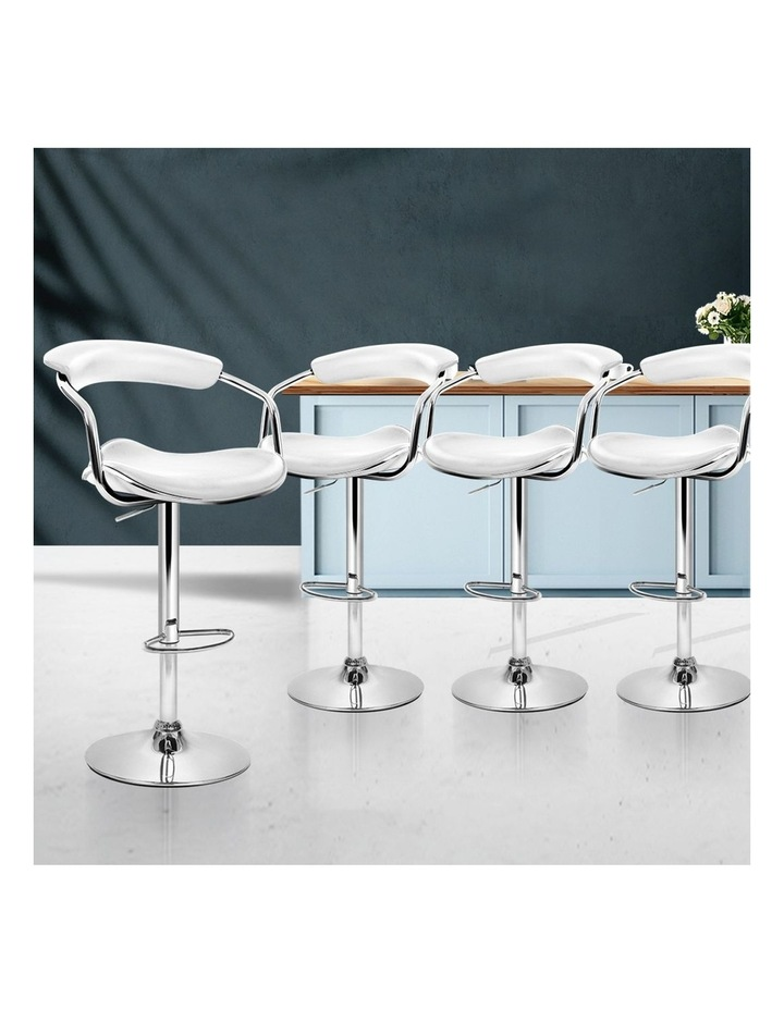 4x Leather Bar Stools ADE Kitchen Chairs Swivel Bar Stool White Gas Lift image 3
