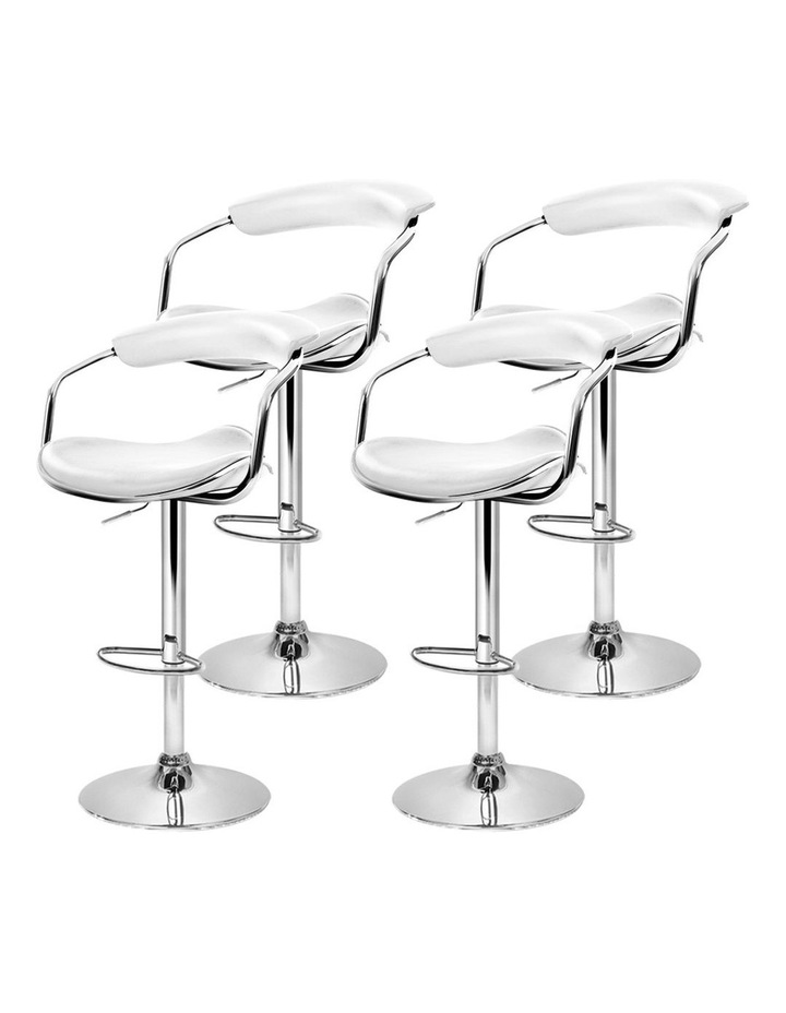 4x Leather Bar Stools ADE Kitchen Chairs Swivel Bar Stool White Gas Lift image 4