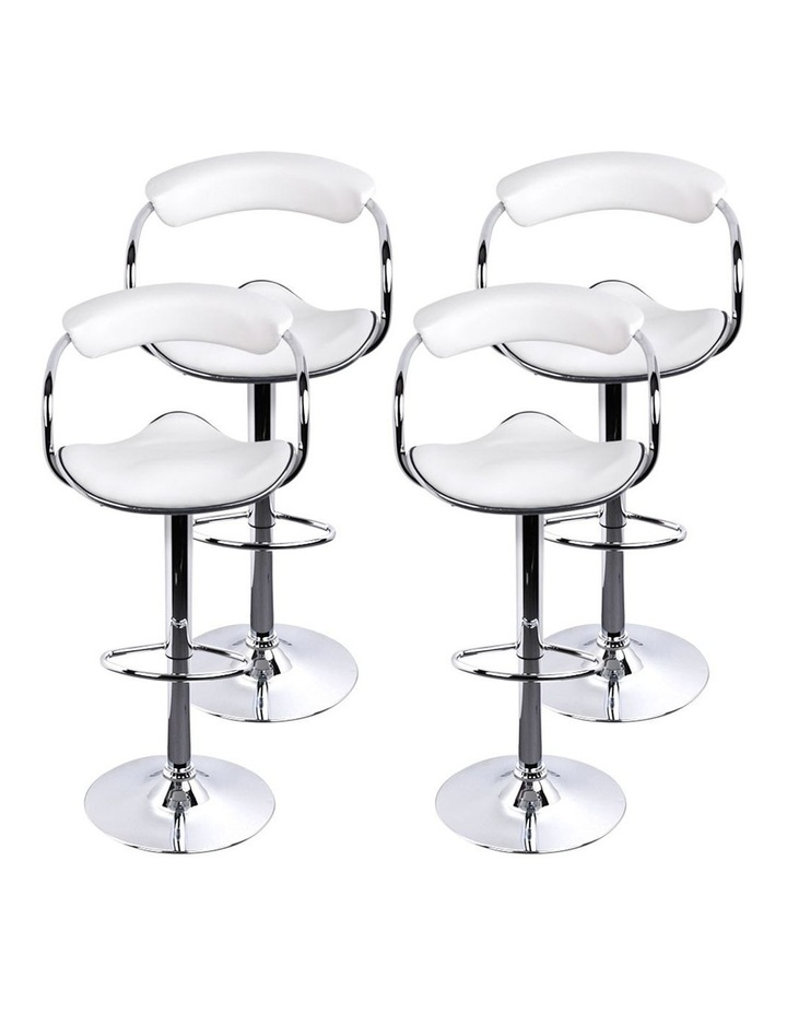 4x Leather Bar Stools ADE Kitchen Chairs Swivel Bar Stool White Gas Lift image 7