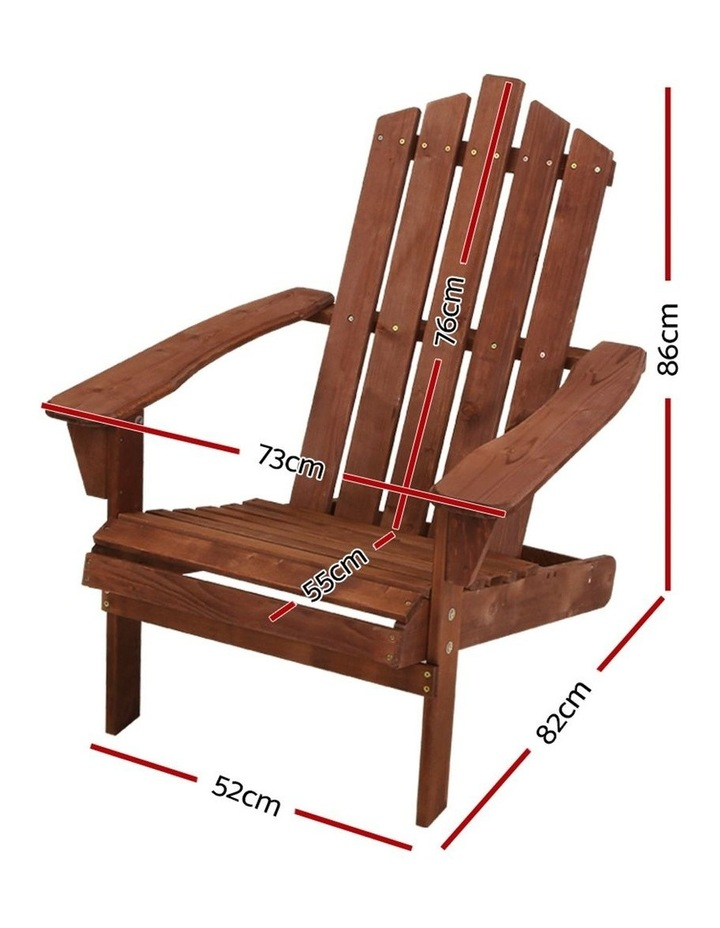Outdoor Sun Lounge Beach Chairs Table Setting Wooden Adirondack Patio Brown Chair image 2