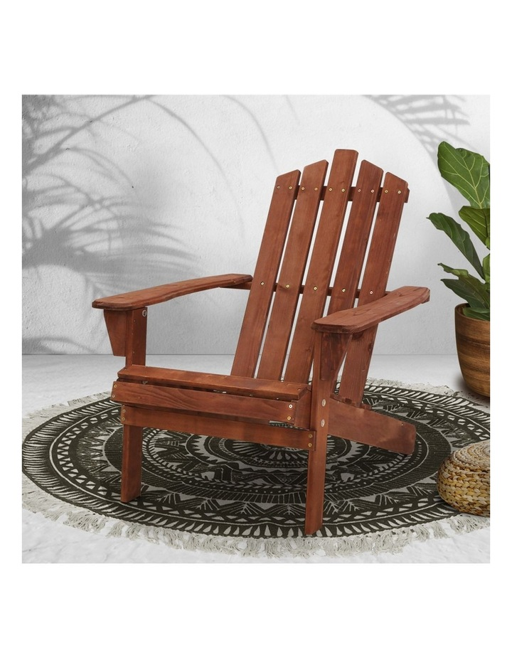 Outdoor Sun Lounge Beach Chairs Table Setting Wooden Adirondack Patio Brown Chair image 5
