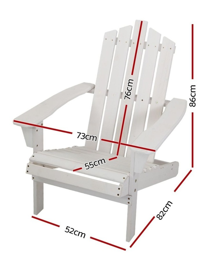 Outdoor Sun Lounge Beach Chairs Table Setting Wooden Adirondack Patio Chair White image 1