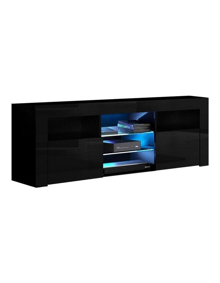 TV Cabinet Entertainment Unit Stand RGB LED Gloss Furniture 160cm Black image 1