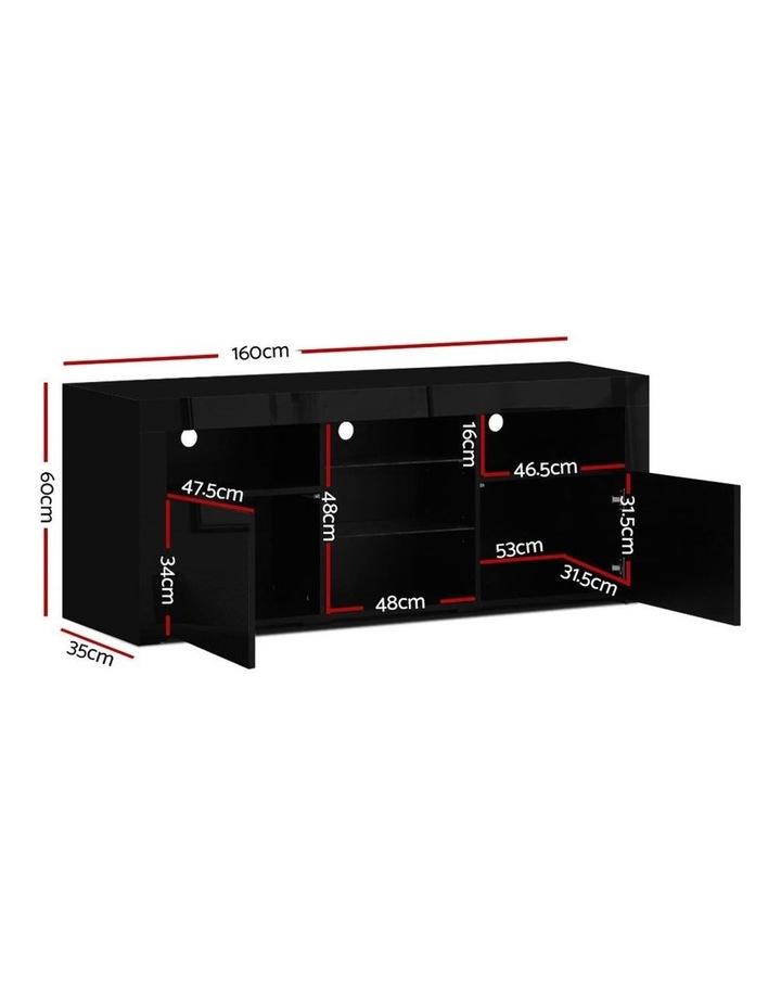 TV Cabinet Entertainment Unit Stand RGB LED Gloss Furniture 160cm Black image 2