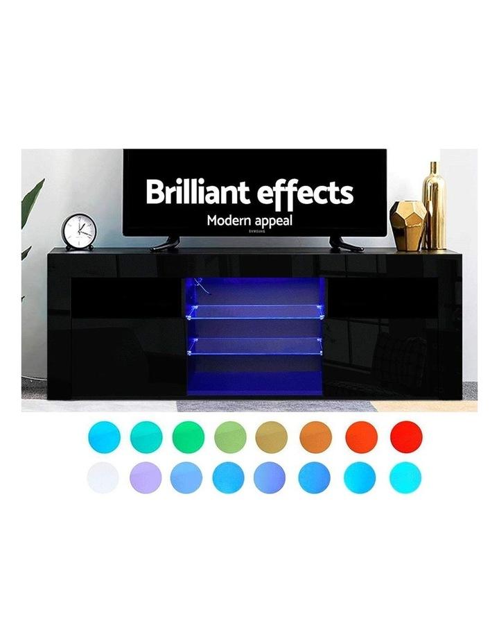 TV Cabinet Entertainment Unit Stand RGB LED Gloss Furniture 160cm Black image 3