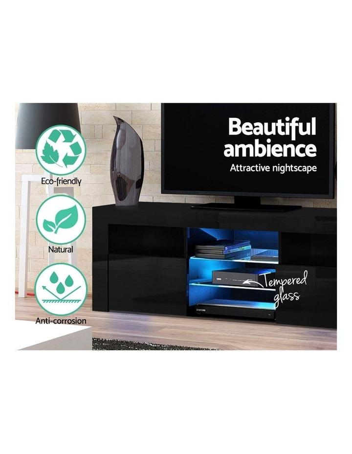 TV Cabinet Entertainment Unit Stand RGB LED Gloss Furniture 160cm Black image 4