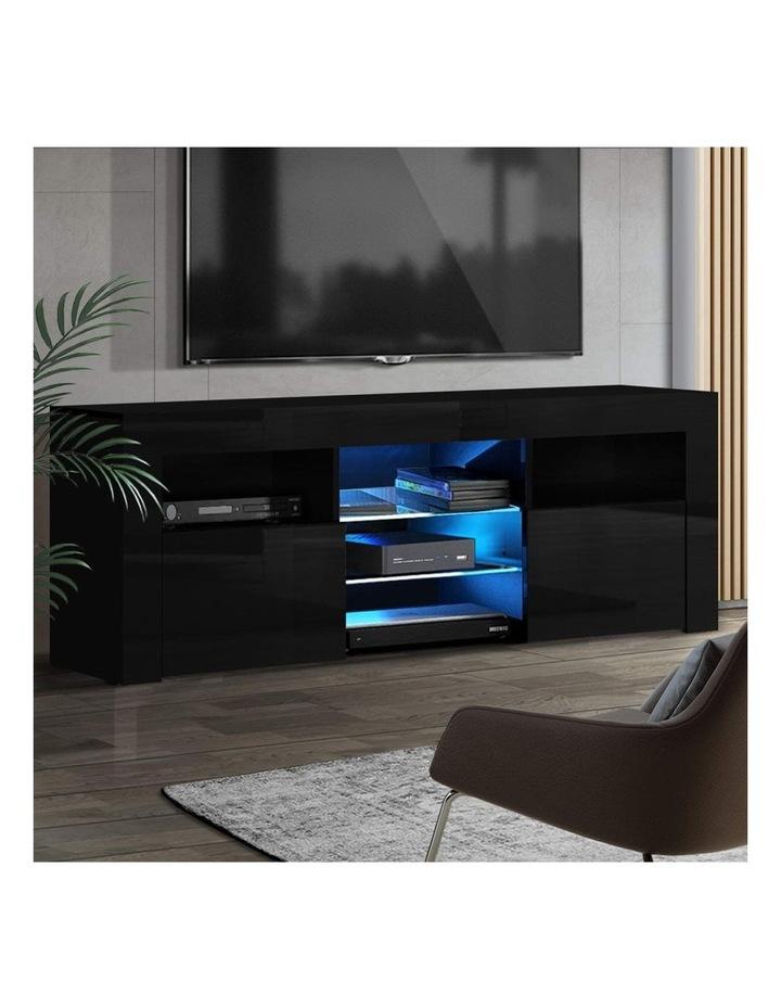 TV Cabinet Entertainment Unit Stand RGB LED Gloss Furniture 160cm Black image 6
