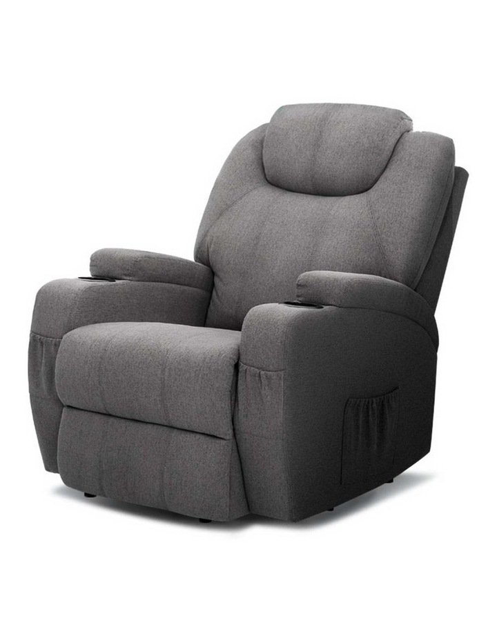 Recliner Chair Electric Massage Chairs Heated Lounge Sofa Fabric Grey image 1