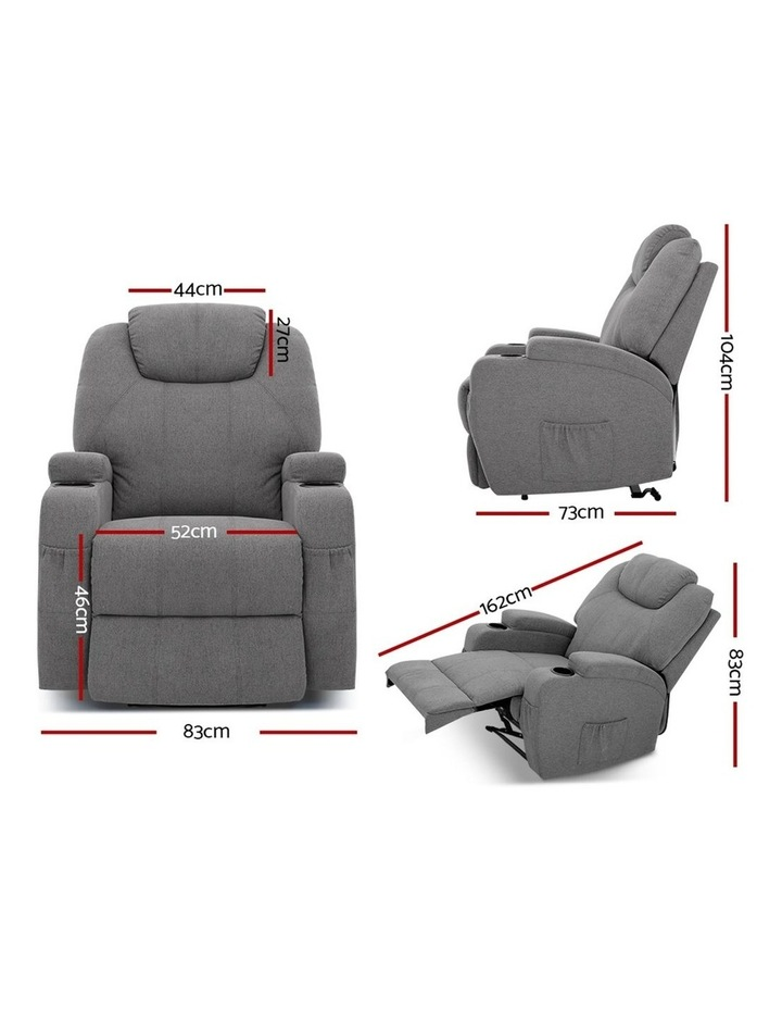 Recliner Chair Electric Massage Chairs Heated Lounge Sofa Fabric Grey image 2