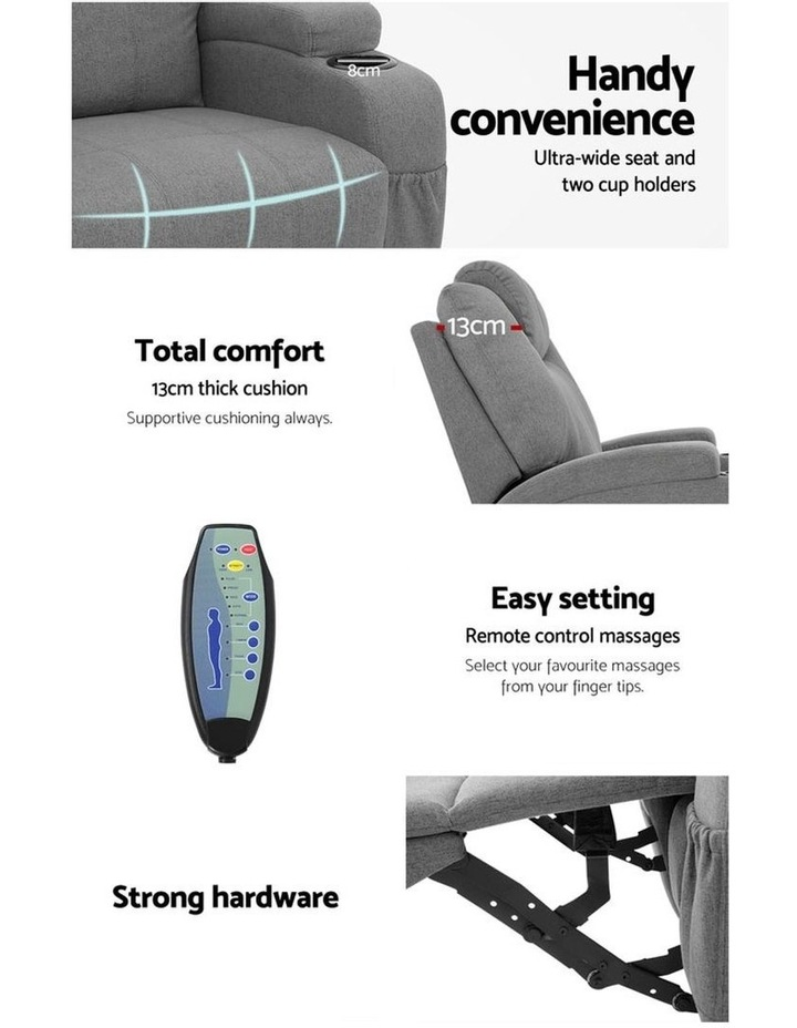 Recliner Chair Electric Massage Chairs Heated Lounge Sofa Fabric Grey image 3