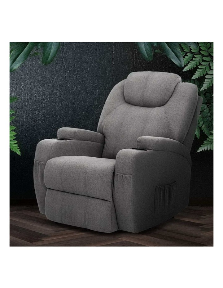 Recliner Chair Electric Massage Chairs Heated Lounge Sofa Fabric Grey image 5