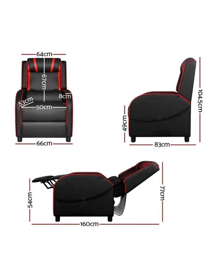 Recliner Chair Gaming Racing Armchair Lounge Sofa Chairs Leather Black image 2