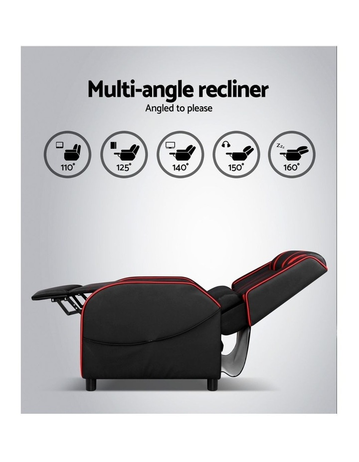 Recliner Chair Gaming Racing Armchair Lounge Sofa Chairs Leather Black image 4