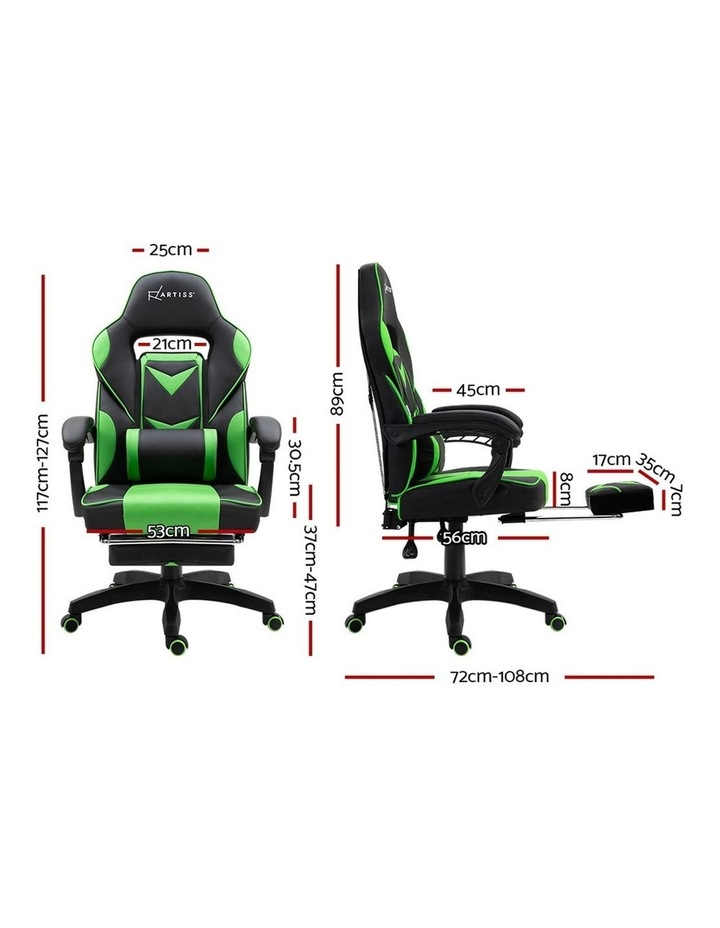 Office Chair Computer Desk Gaming Chair Study Home Work Recliner Black Green image 2