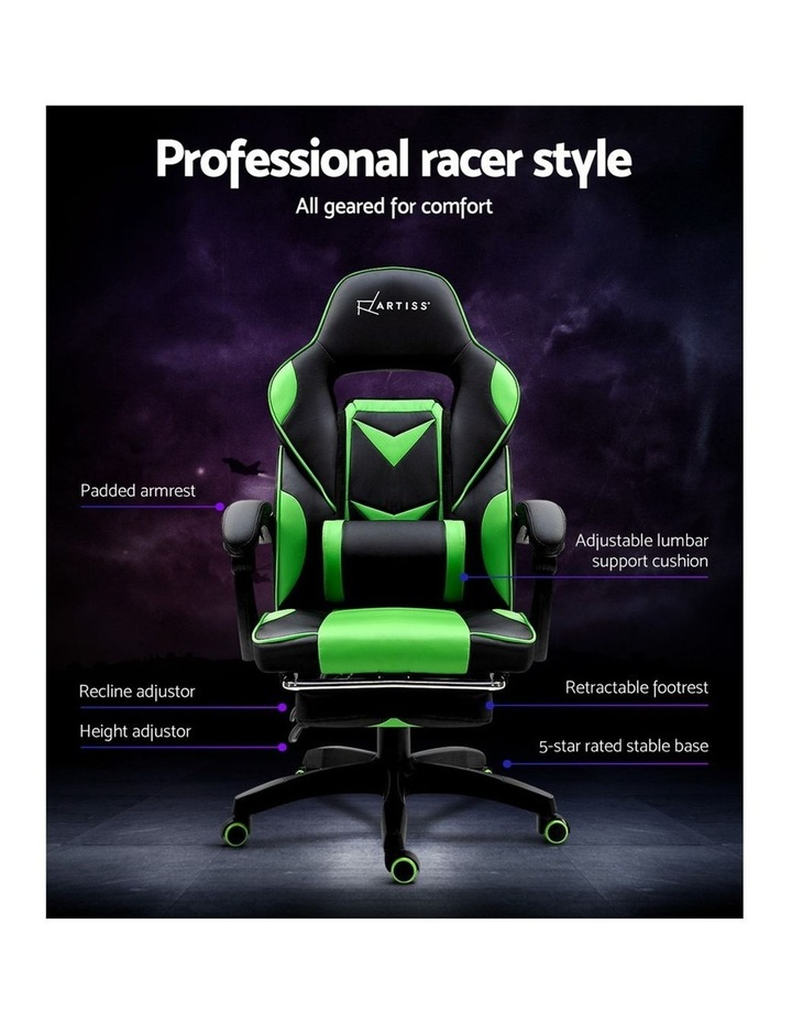Office Chair Computer Desk Gaming Chair Study Home Work Recliner Black Green image 4