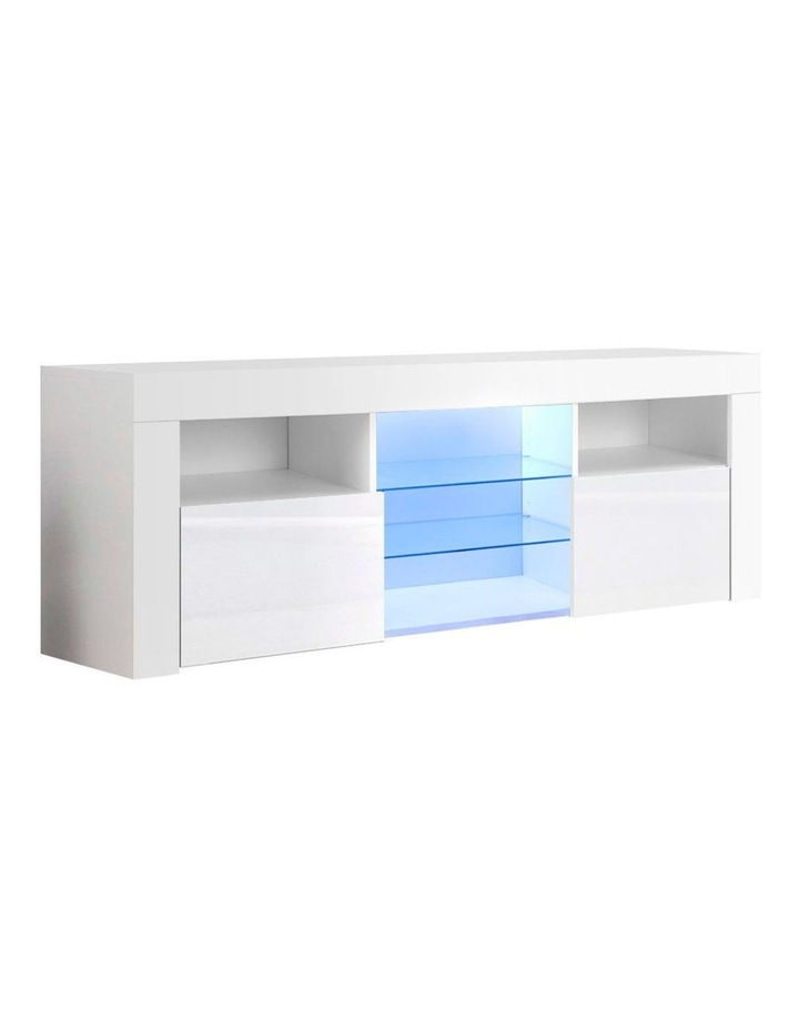 TV Cabinet Entertainment Unit Stand RGB LED Gloss Furniture 160cm White image 1