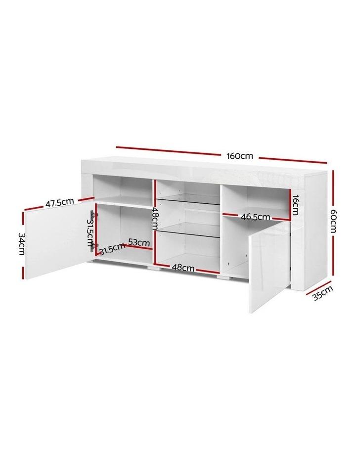 TV Cabinet Entertainment Unit Stand RGB LED Gloss Furniture 160cm White image 2