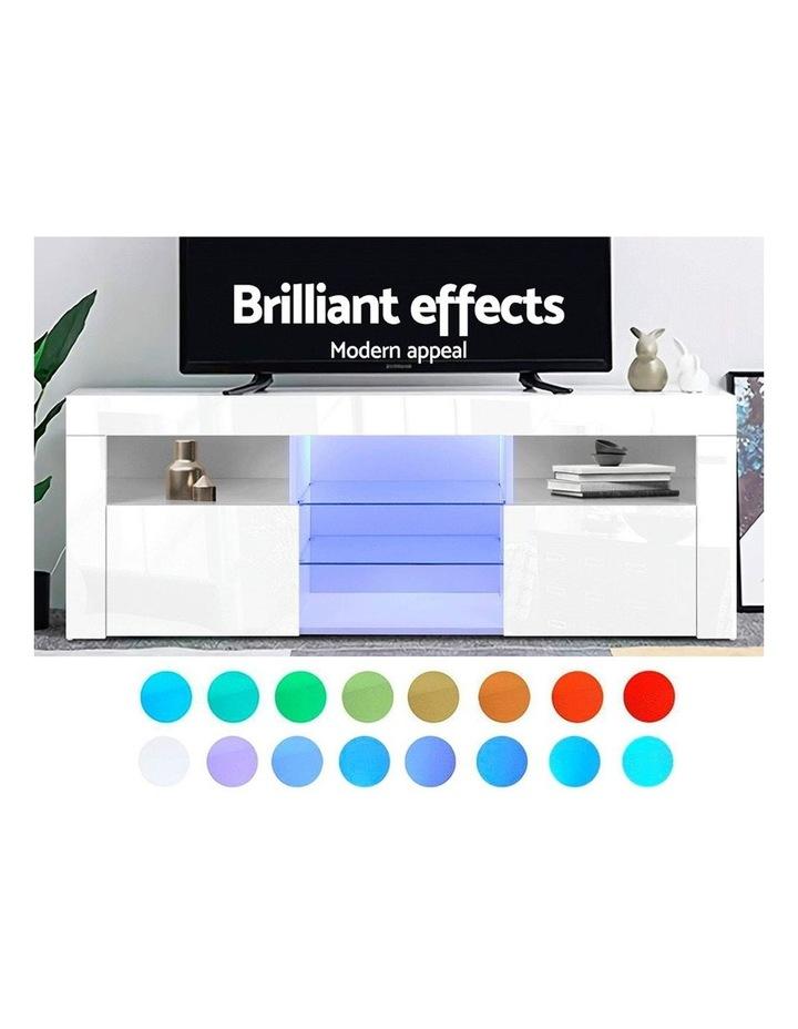 TV Cabinet Entertainment Unit Stand RGB LED Gloss Furniture 160cm White image 3