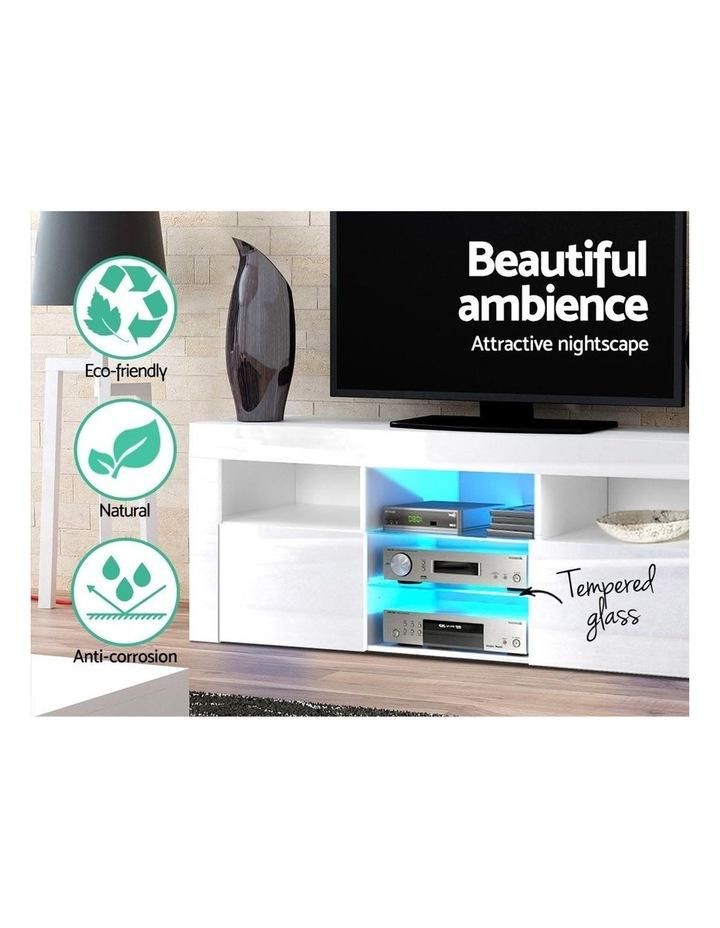 TV Cabinet Entertainment Unit Stand RGB LED Gloss Furniture 160cm White image 4